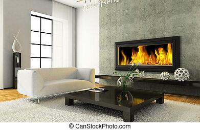 interior, moderno, chimenea, vista