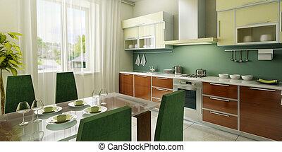 interior, moderno, cocina