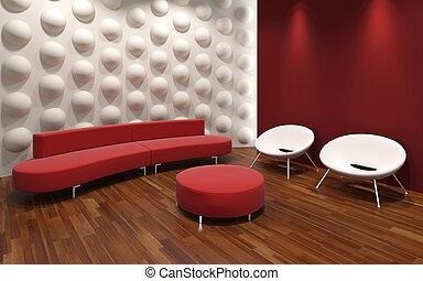 interior, moderno, diseño