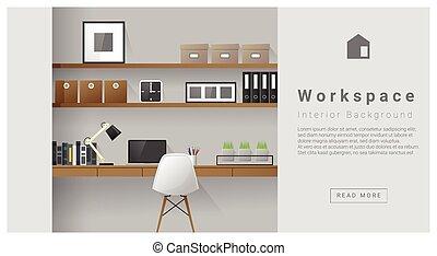 interior, moderno, diseño, espacio de trabajo, plano de...