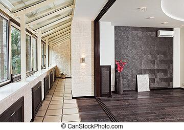 interior, moderno, estudio, (gallery), balcón