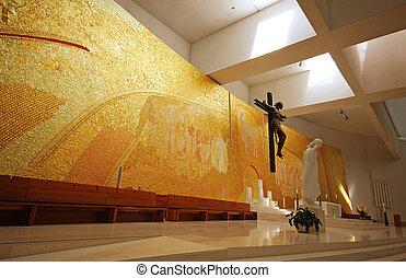 interior, moderno, iglesia
