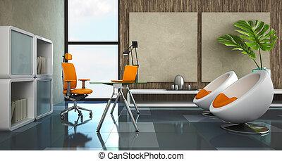 interior, moderno, oficina privada