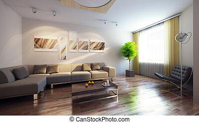 interior, moderno, render, 3d