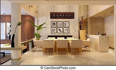 interior, moderno, sala de estar