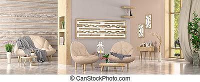interior, moderno, sillones, interpretación, plantas, dos, ...
