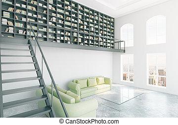 interior, modernos, biblioteca