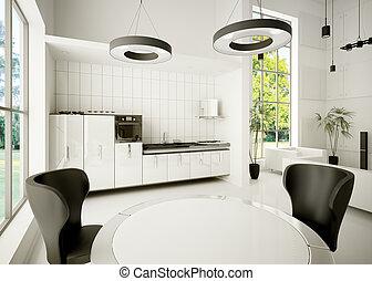interior, modernos, cozinha, 3d