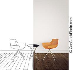 Interior, modernos, desenho