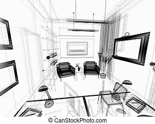 interior, modernos, escritório