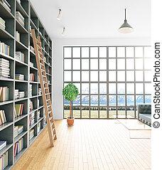 interior, modernos, lado, biblioteca