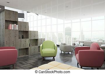 interior, modernos, lado, escritório, vista