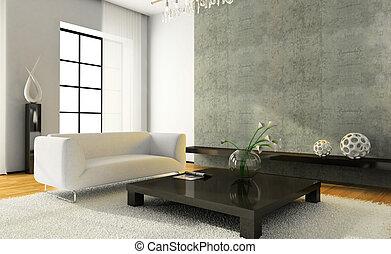 interior, modernos, lareira, vista