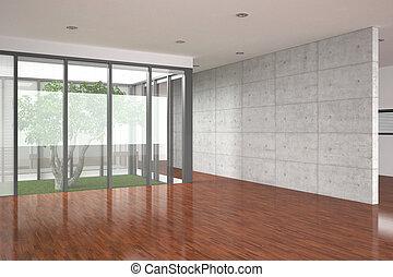 interior, modernos, vazio, assoalho parquet