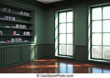 interior, modernos, verde, biblioteca