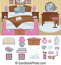 interior, mujer, muebles, dormitorio