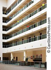 interior multistory lobby hotels, look up