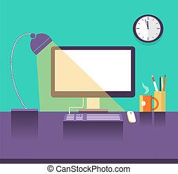 interior, noturna, lugar, escritório, tempo