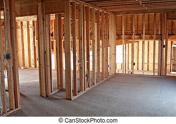 interior, nuevo, construcción, encuadrado