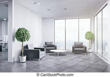 interior, nye, kontor