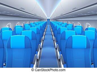 interior, o, cabaña, asientos, avión, avión