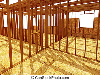 interior od construction site - 3d image of classic wood ...