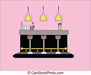 interior of 50's era diner - diner interior with accessories...