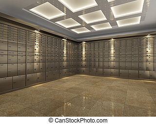 Interior of a bank vault - Interior of a fireproof...