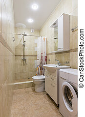 Interior of a bathroom, a combined toilet and shower