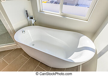 Interior of a bathroom with a smooth and glossy bathtub in th corner