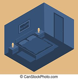 Interior of a bedroom with a bed and bedside tables at night. Vector illustration in isometric style