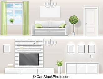 Interior of a bright living room with furniture