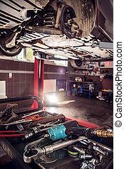 Interior of a car repair shop