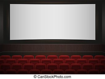 Interior of a cinema movie theatre. Red cinema or theater seats in front of white blank screen. Empty Cinema auditorium vector background.