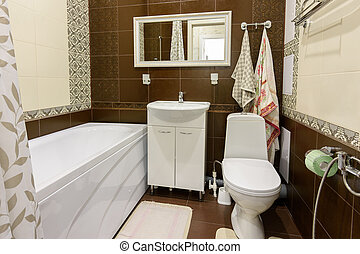 Interior of a compact bathroom in an apartment