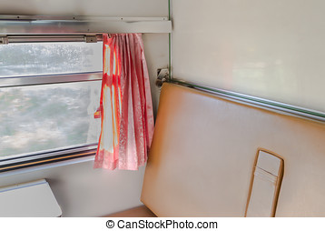 Interior of a coupe in a passenger train car.