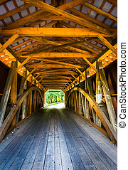 Interior of a covered bridge in rural Lancaster County,...