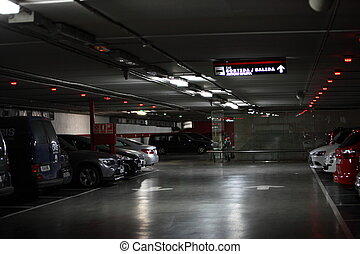 Interior of a covered vehicle parking lot