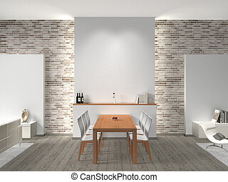 Interior of a dining room - FICTITIOUS interior of a modern...