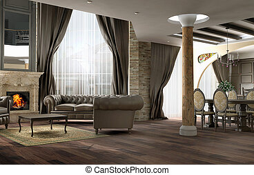 Interior of a drawing room of a room in classical style with a leather sofa and a fireplace from a marble with a kind on a dining room