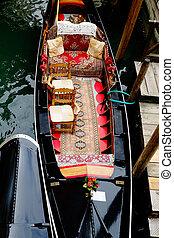 Interior of a gondola in Venice, Italy