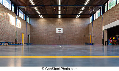 Interior of a gym at school, old gym in Holland