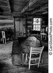 Interior of a historic cabin in Sky Meadows State Park, Virginia.