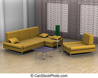 Interior of a home room. 3D image.