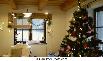 Interior of a house at Christmas time. - Interior of a...
