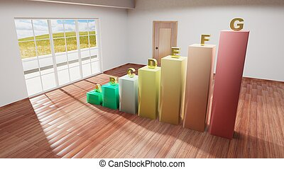 Interior of a house with energy efficiency bars