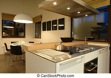 interior of a kitchen and dinning room