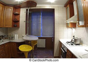 interior of a kitchen fisheye view