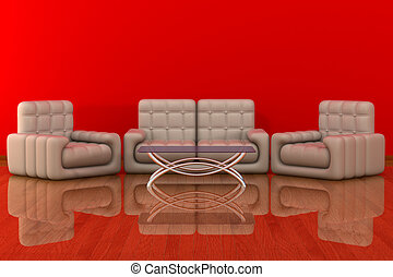Interior of a living room. 3D image.