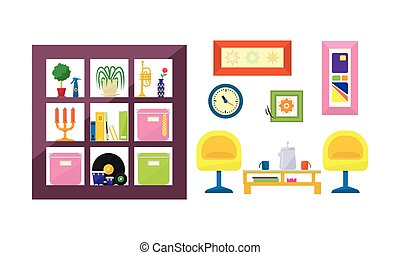Interior of a living room with furniture vector Illustration